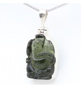 pendentif argent et moldavite Ganesh