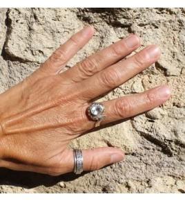 bague en argent 925 et cristal de roche