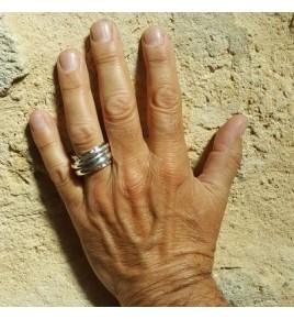bague argent 925 martelee avec 3 anneaux