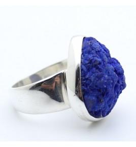 bague argent 925 et azurite bleue