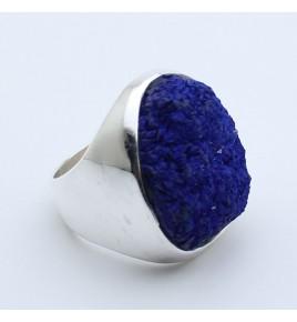bague argent et azurite  bleue