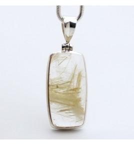 pendentif argent et quartz rutile