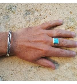 chevalière homme argent et turquoise