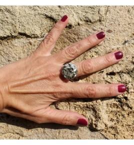 bague argent rhodié et pyrite