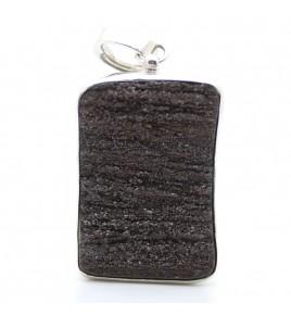 pendentif argent et bois fossile