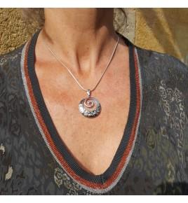 pendentif argent rhodié et pyrite