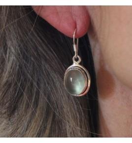 boucles d'oreilles argent et préhnite