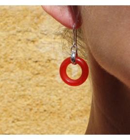 boucles d'oreilles argent et jade rouge