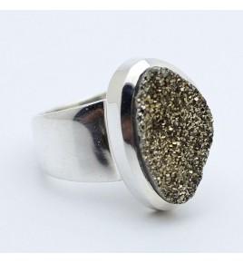 bague argent et pyrite