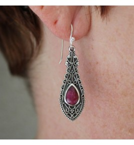 boucles d'oreilles argent et rubis