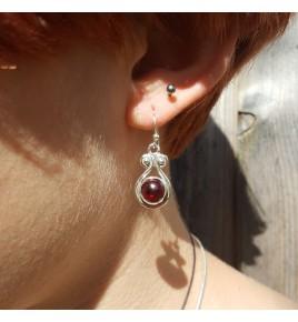 boucles d'oreilles argent et grenat