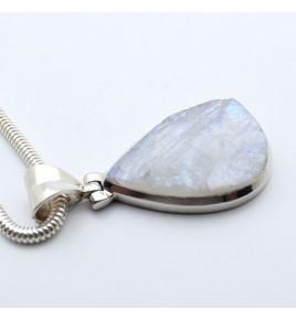 pendentif argent 925 et pierre blanche