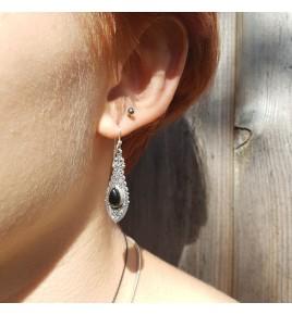 boucles d'oreilles argent et onyx