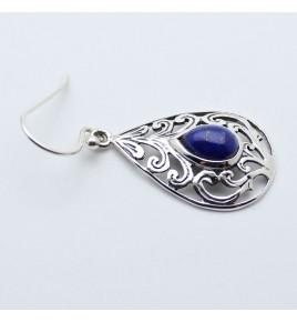 pendants d'oreilles argent et lapis lazuli