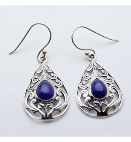 boucles d'oreilles en argent et lapis lazuli