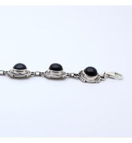 bracelet argent et pierre noire