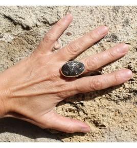 bague argent 925 et pierre marron