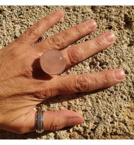 bague argent 925 et quartz rose