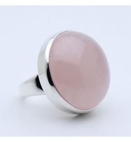 bague argent et quartz rose