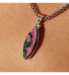 pendentif argent et pierre rose
