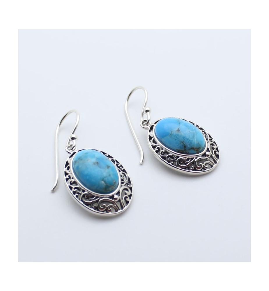 boucles d'oreilles argent et turquoise