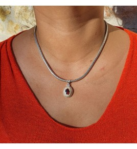 pendentif argent et opale de feu mexicaine