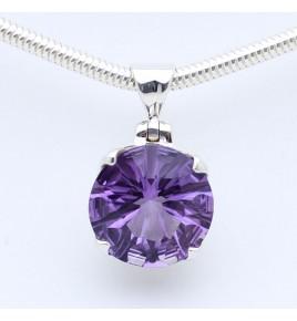 pendentif argent et pierre violette