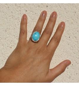 bague argent et pierre bleue