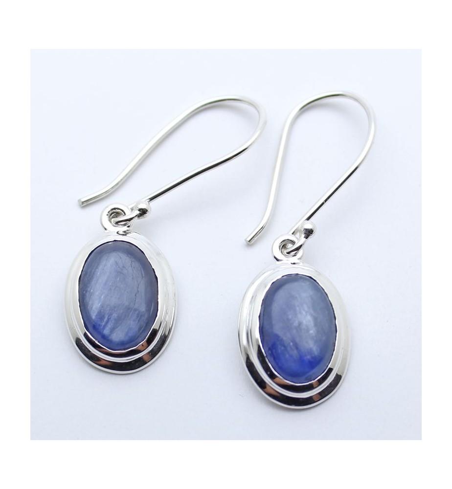 boucles d'oreilles argent et pierre  bleue