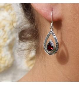 boucles d'oreilles argent grenat