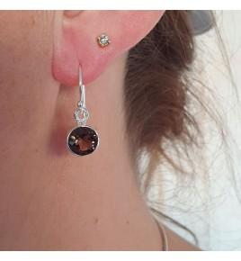 boucles d'oreilles argent quartz fumé