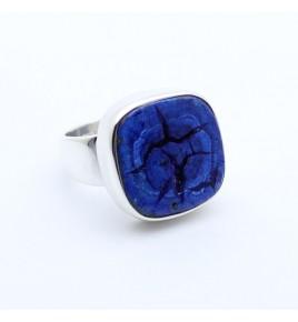bague argent azurite bleue