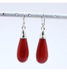 boucles d'oreilles jade rouge