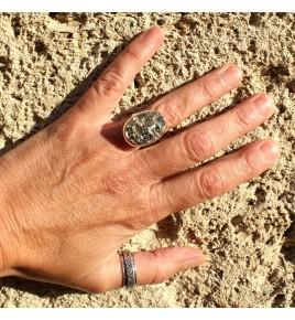 bague pyrite brute