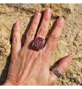 bague argent pierre framboise