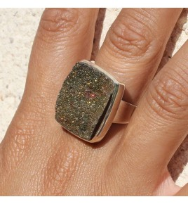bague pierre pyrite