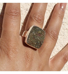 bague argent pyrite