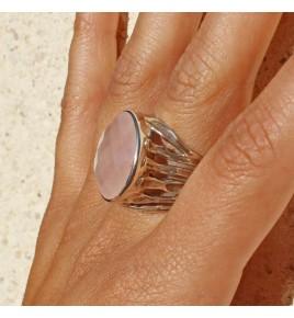 bague argent quartz rose