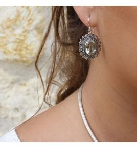 boucles d'oreilles argent pierre verte