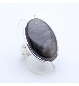 bague argent obsidienne