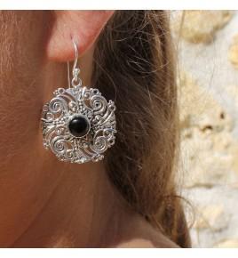 boucles d'oreilles argent et pierre noire