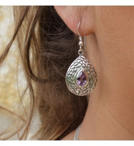 boucles d'oreilles amethystes