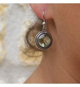 boucles d'oreilles prasiolite