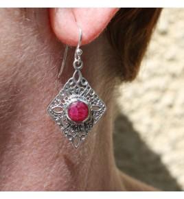 boucles d'oreilles pierre rose