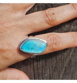 bague argent pierre bleu