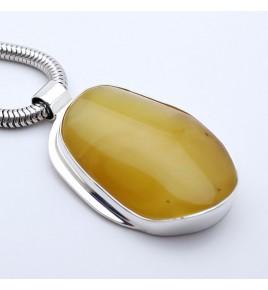 pendentif argent pierre jaune