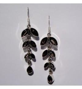 Boucles d'oreilles argent et quartz fum