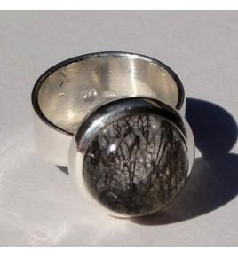 Bague argent et quartz rutile T 51,5 - R292