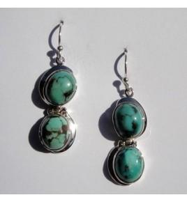 Boucles d'oreilles argent et turquoise BO395