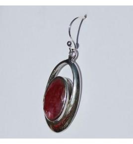 Boucles d'oreilles argent et racine de rubis BO466